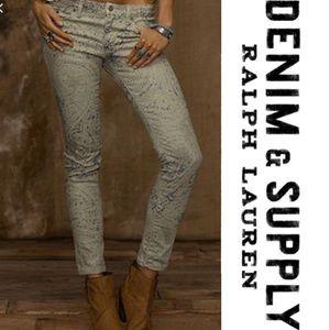 Ralph Lauren | Distressed Paisley Skinny Jean 27